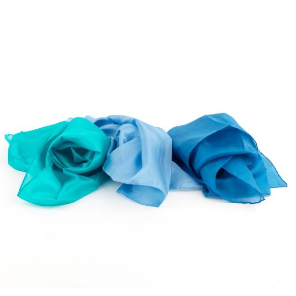 3er Set Seidentücher, blau, 86cm