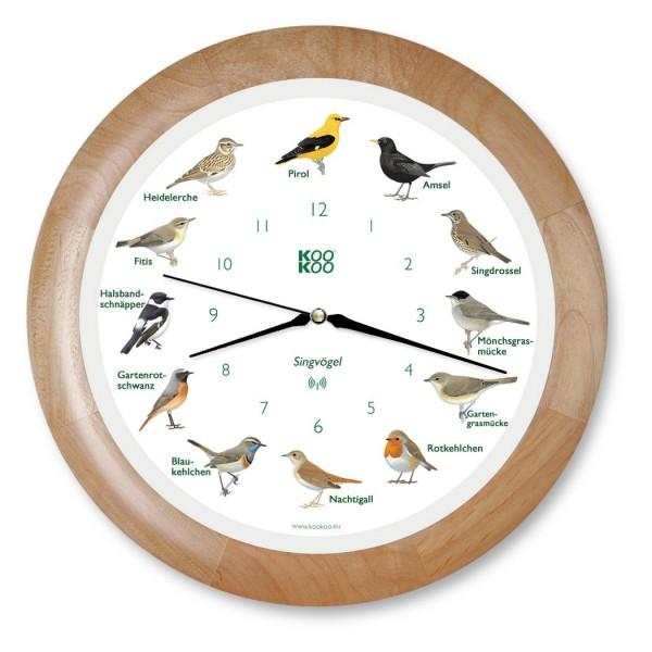 KOOKOO Wanduhr Tierstimmen Vögel
