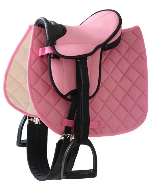 Sattel für Gartenpferd Susi, rosa