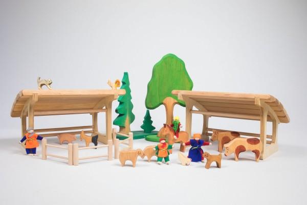 Bauernhof-Set aus Holz