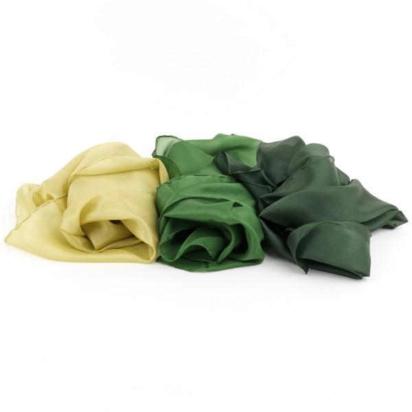 3er SET Seidentücher, grün, 65 cm