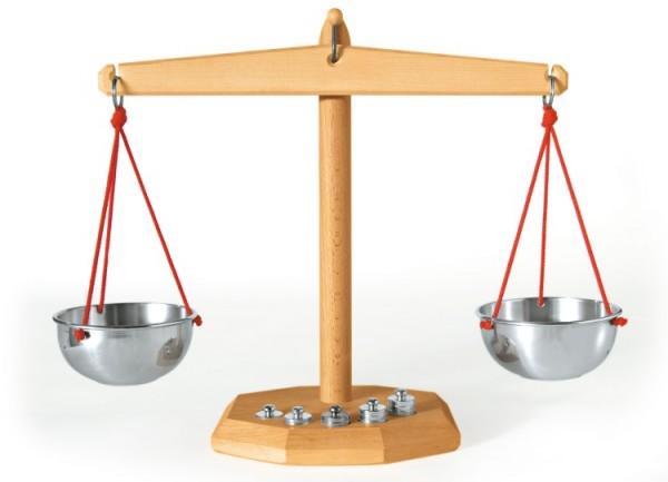 Waage mit 5 Gewichten