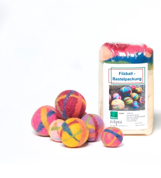 Filzball Bastel-Set, pflanzengefärbte Biolandschurwolle