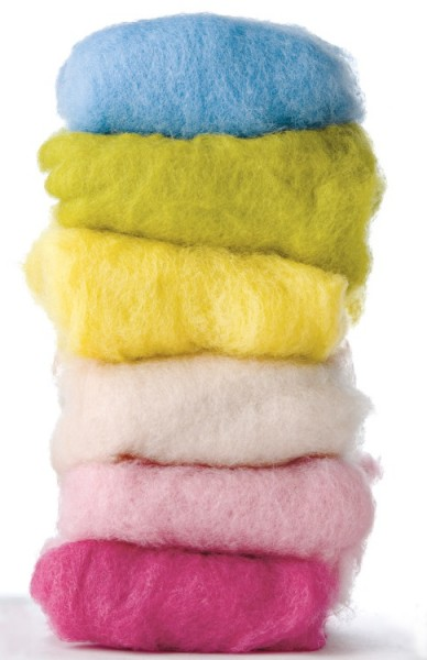 Filzwolle im Vlies in verschiedenen Farben